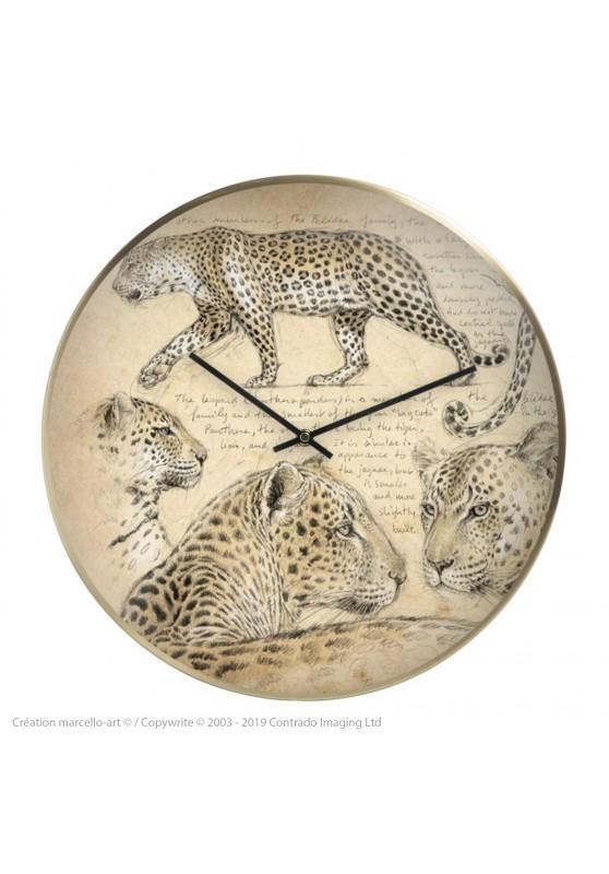 Marcello-art : Accessoires de décoration Horloge murale 180 Léopard