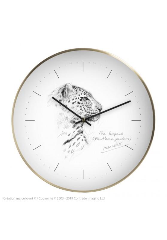 Marcello-art : Accessoires de décoration Horloge murale 180 Léopard profil