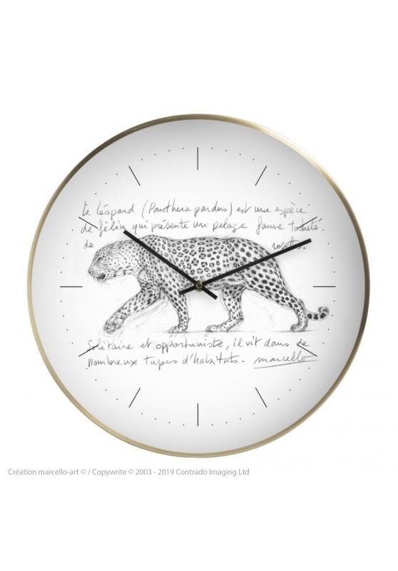 Marcello-art : Accessoires de décoration Horloge murale 180 Léopard qui marche