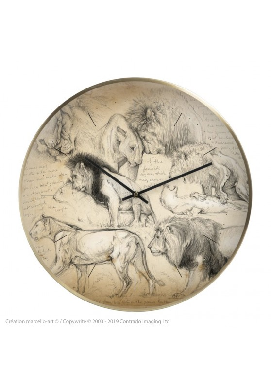 Marcello-art: Decoration accessoiries Wall clock 181 Mating lions