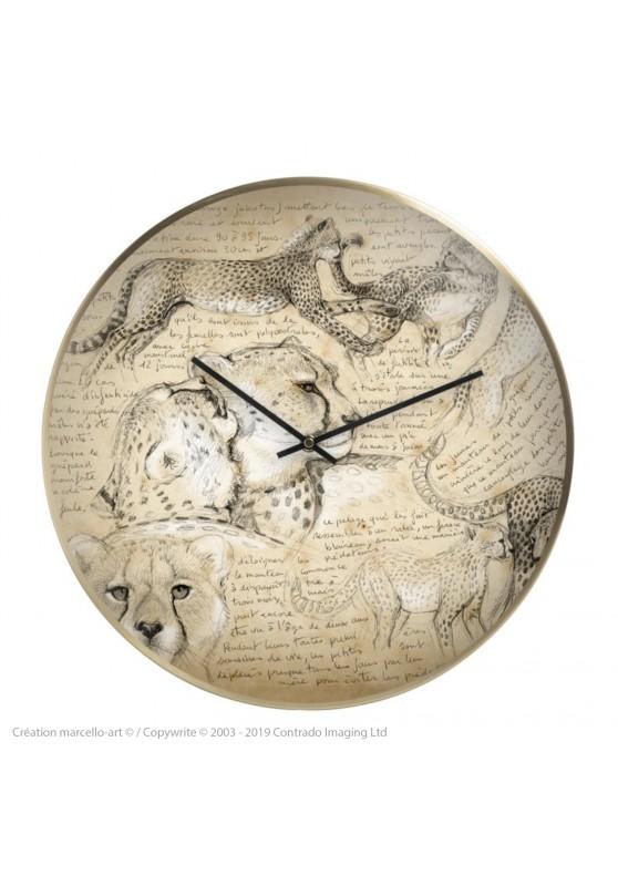 Marcello-art : Accessoires de décoration Horloge murale 219 Guépard
