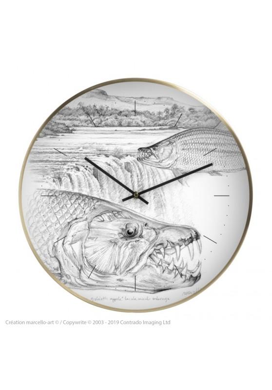 Marcello-art : Accessoires de décoration Horloge murale 242 Tigerfish goliath