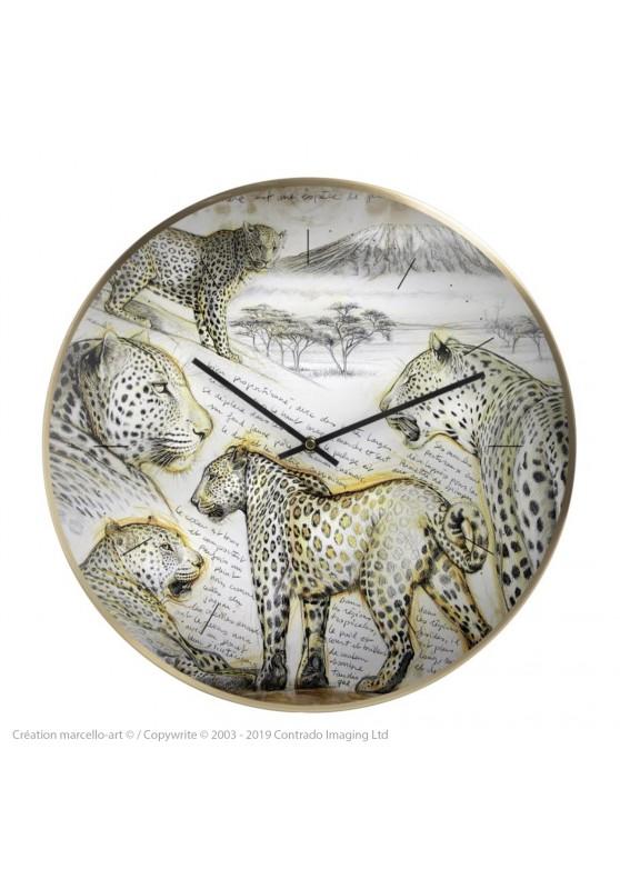 Marcello-art : Accessoires de décoration Horloge murale 252 Léopard