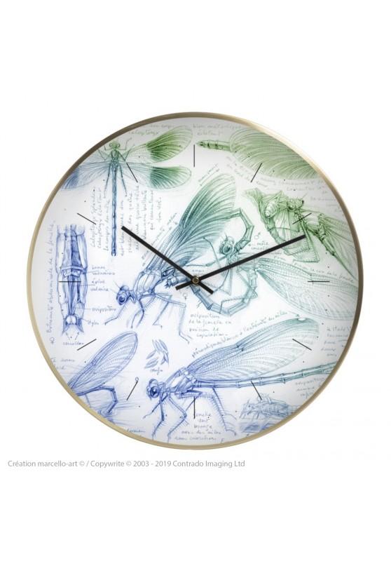 Marcello-art : Accessoires de décoration Horloge murale 255 Calopteryx