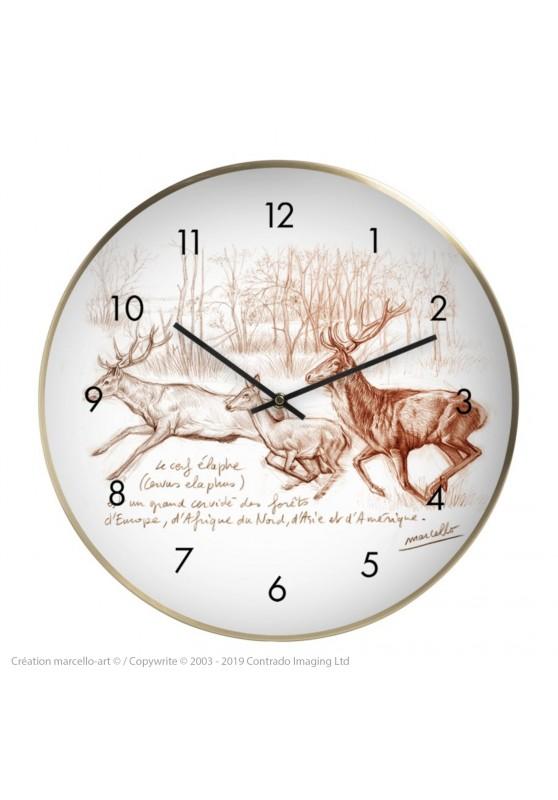 Marcello-art : Accessoires de décoration Horloge murale 271 Cerf elaphe