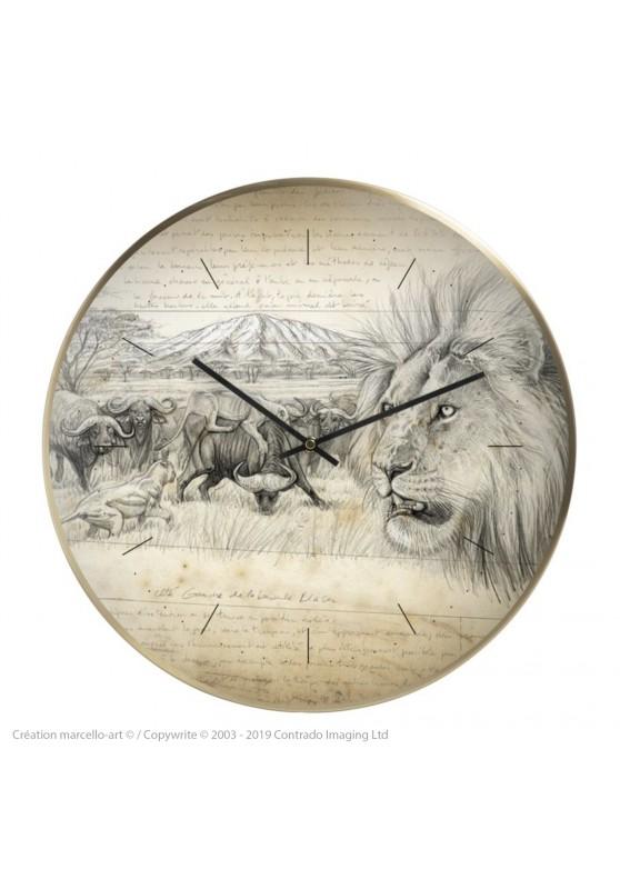 Marcello-art : Accessoires de décoration Horloge murale 275 Lion Gravure Blaser