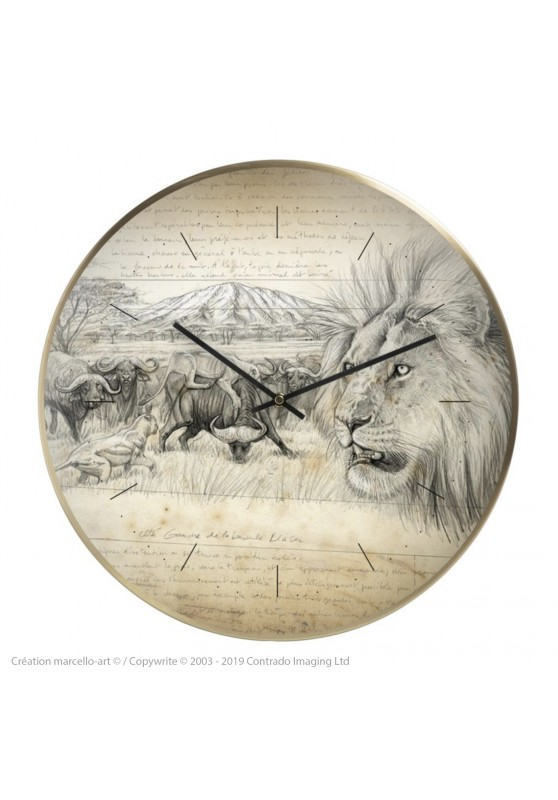 Marcello-art: Decoration accessoiries Wall clock 275 Lion Engraving gun