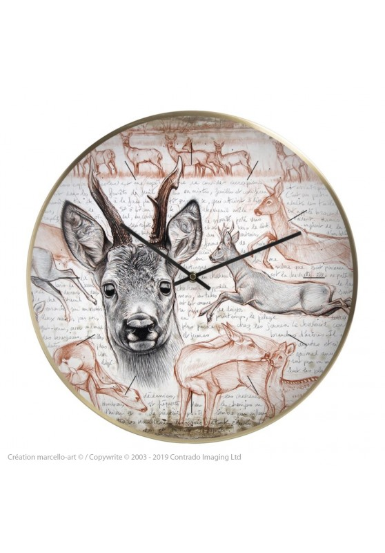 Marcello-art: Decoration accessoiries Wall clock 280 Roe deer