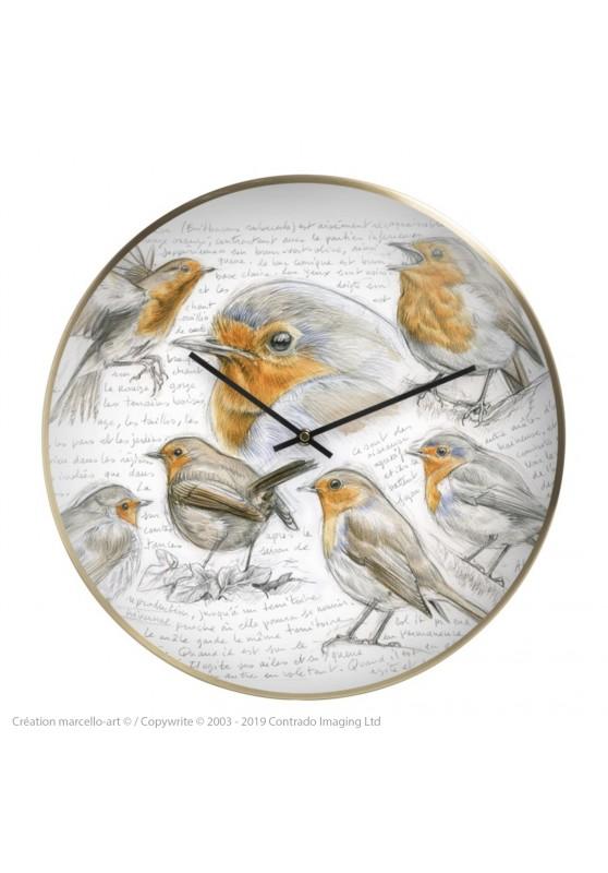 Marcello-art : Accessoires de décoration Horloge murale 282 Rougegorge