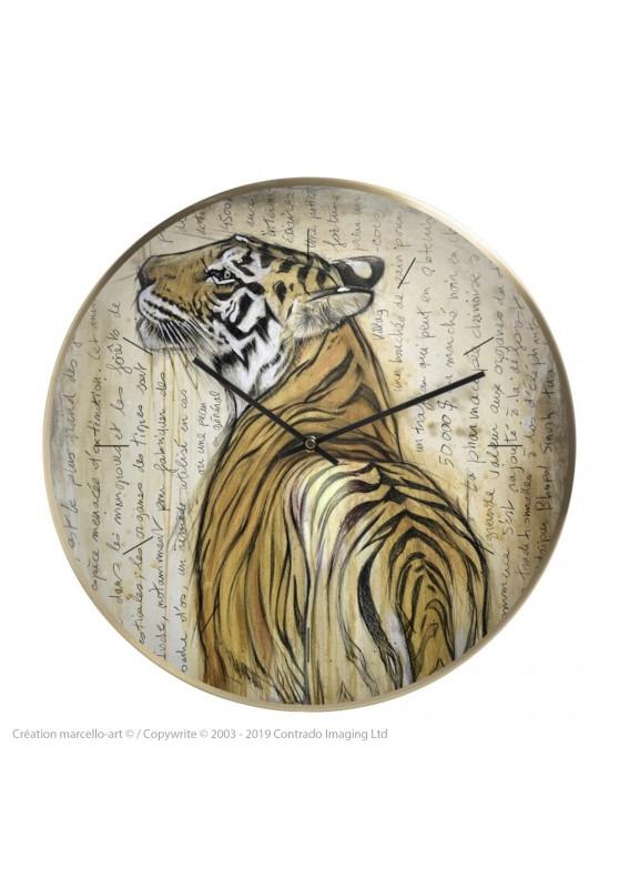 Marcello-art : Accessoires de décoration Horloge murale 298 Tigre du Bengale