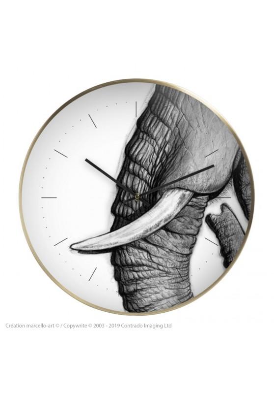 Marcello-art : Accessoires de décoration Horloge murale 303 Satao trompe