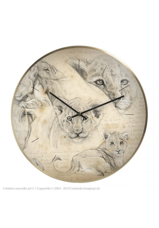 Marcello-art: Decoration accessoiries Wall clock 330 Lion cubs