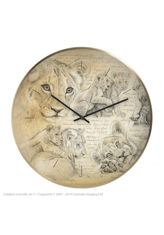 Marcello-art: Decoration accessoiries Wall clock 331 Lion cubs