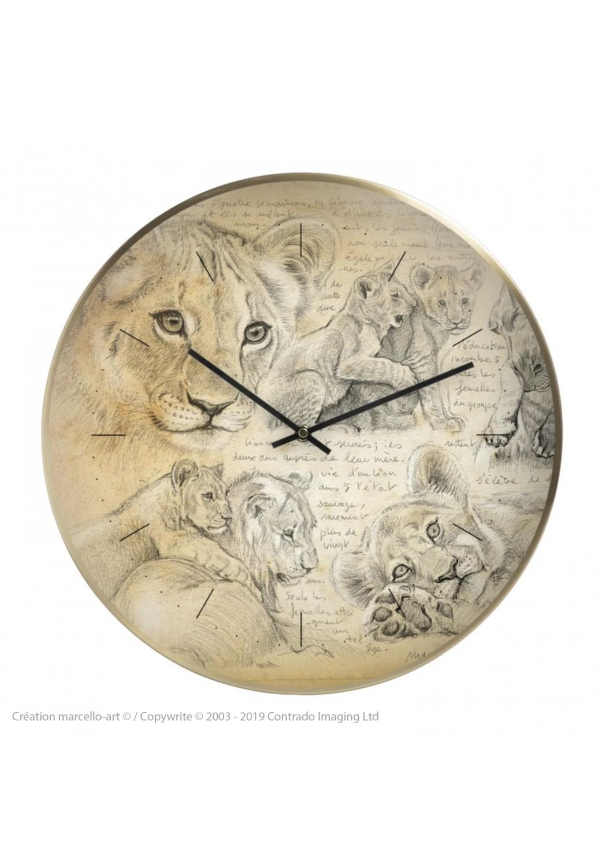 Marcello-art : Accessoires de décoration Horloge murale 331 Lionceaux