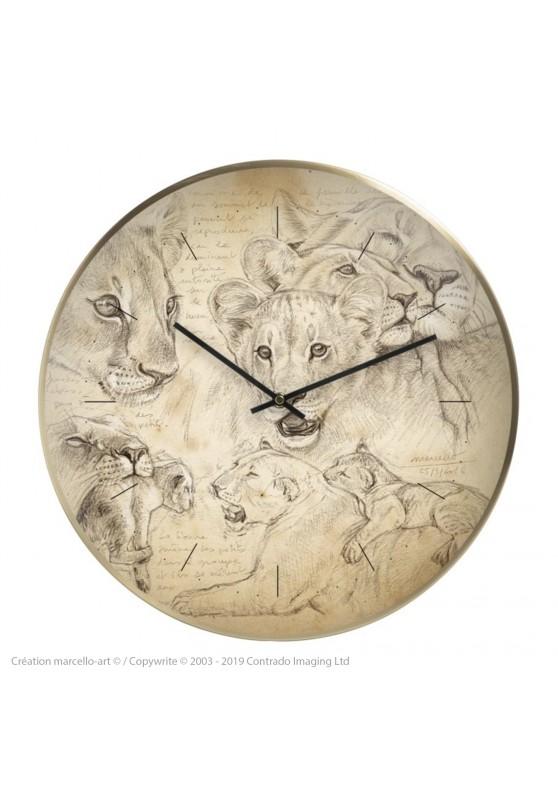 Marcello-art : Accessoires de décoration Horloge murale 335 Lionceaux