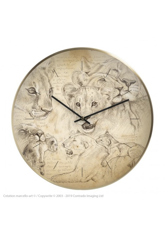 Marcello-art: Decoration accessoiries Wall clock 335 Lion cubs