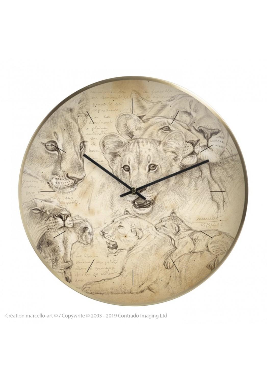 Marcello-art: Decoration accessoiries Wall clock 335 Lion cubs