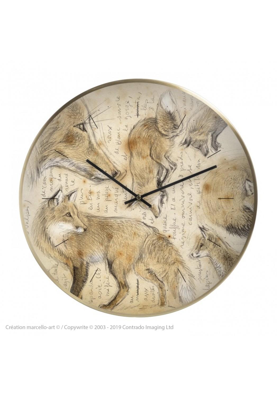 Marcello-art : Accessoires de décoration Horloge murale 336 Renard roux