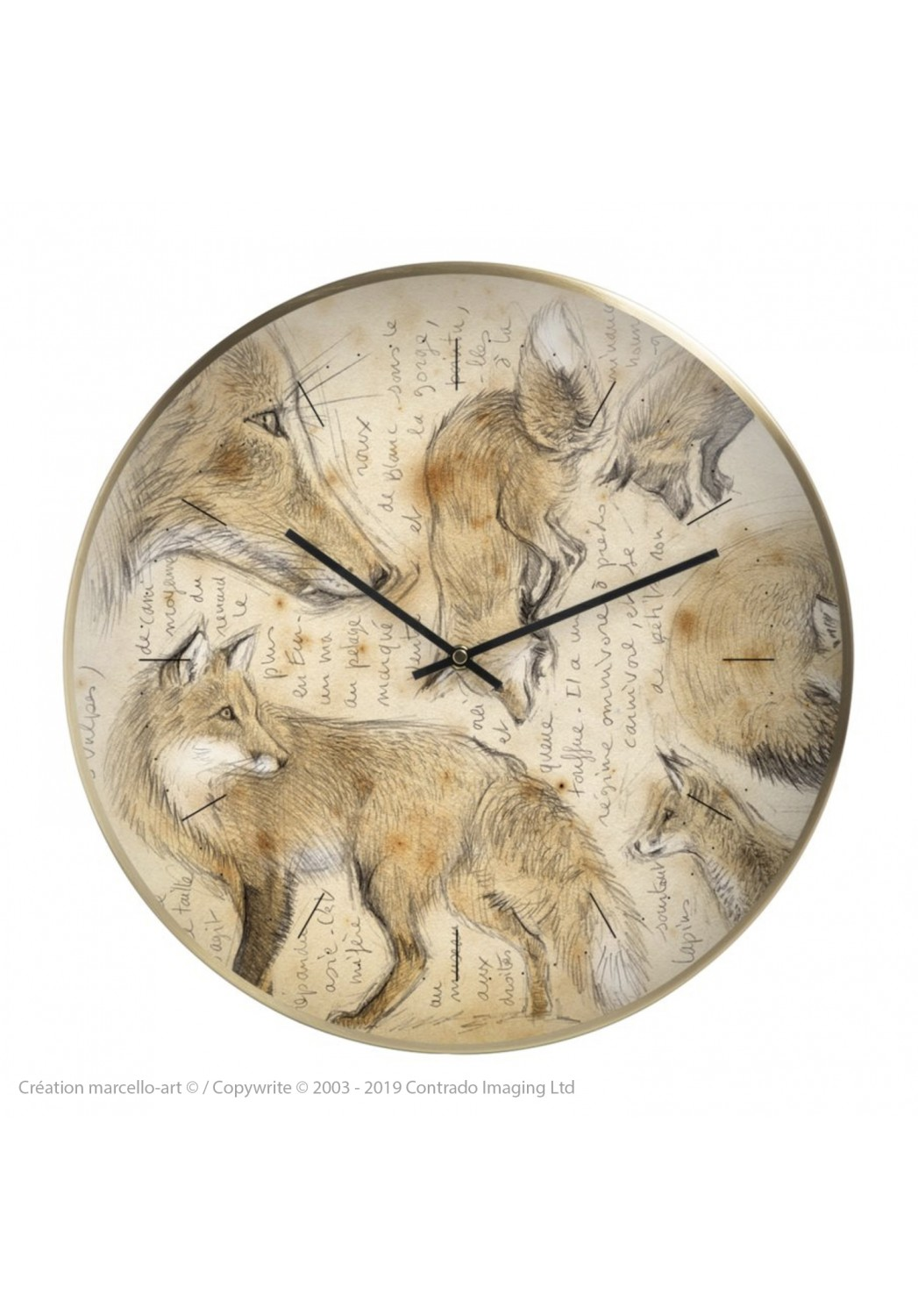 Marcello-art: Decoration accessoiries Wall clock 336 Red fox