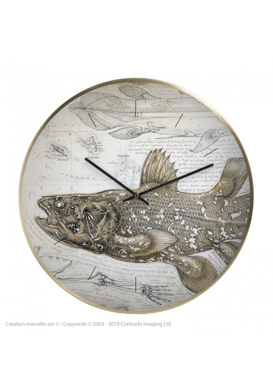Marcello-art : Accessoires de décoration Horloge murale 346 Latimeria chalumnae