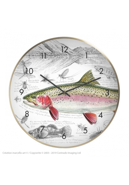 Marcello-art : Accessoires de décoration Horloge murale 373 Truite arc-en-ciel NZ