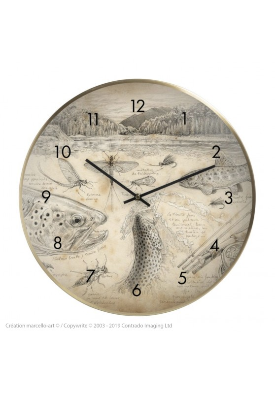 Marcello-art: Decoration accessoiries Wall clock 374 Flyfishing NZ