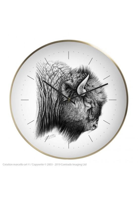 Marcello-art : Accessoires de décoration Horloge murale 390 bison d'Amérique
