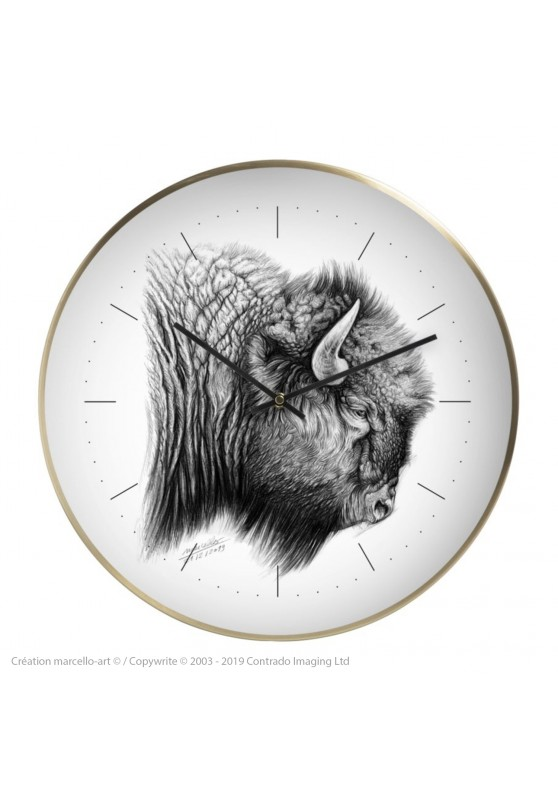 Marcello-art: Decoration accessoiries Wall clock 390 American buffalo