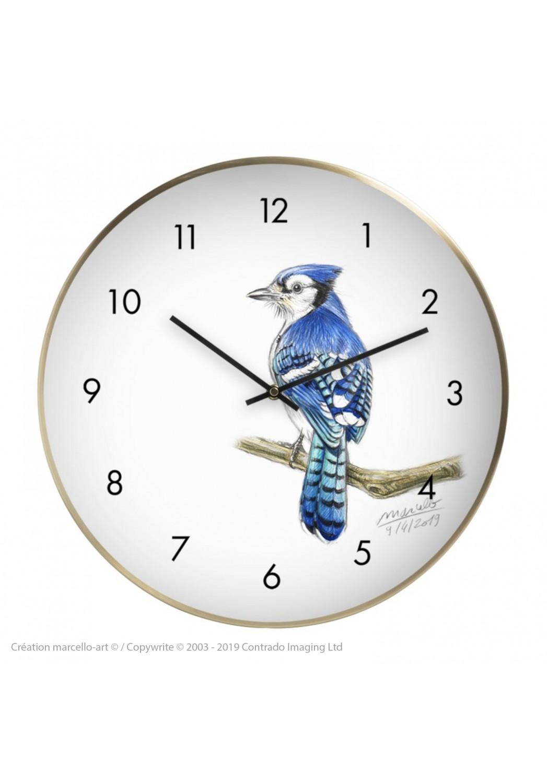 Marcello-art : Accessoires de décoration Horloge murale 393 Geai bleu