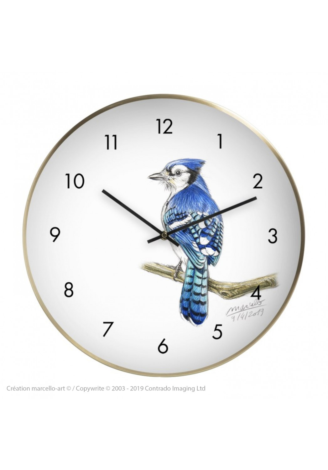 Marcello-art: Decoration accessoiries Wall clock 393 Blue jay