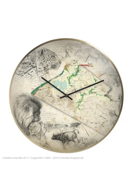 Marcello-art: Decoration accessoiries Wall clock 401 Melting Pot Safaris Map