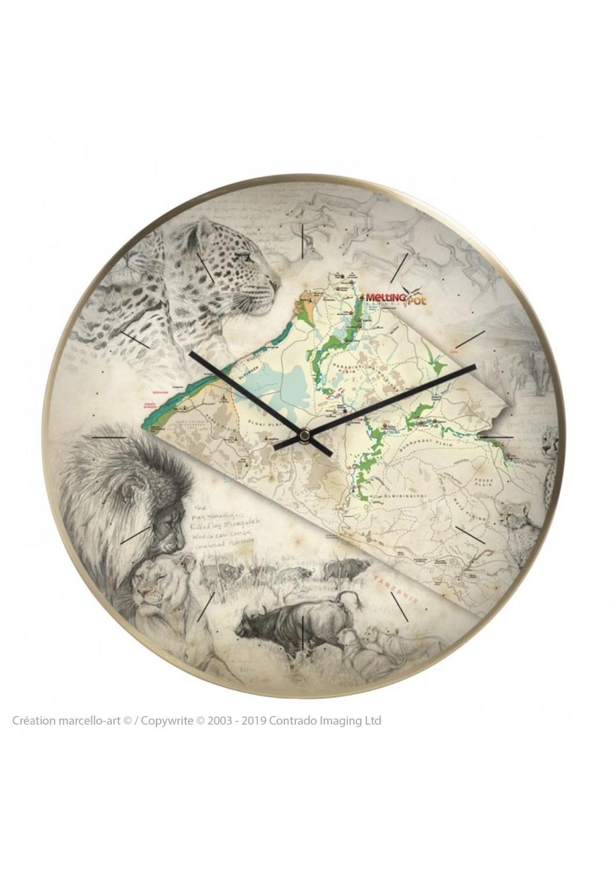 Marcello-art: Decoration accessoiries Wall clock 401 Melting Pot Safaris Map