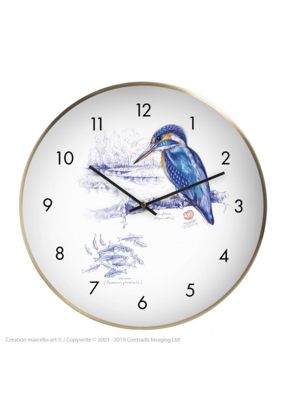 Marcello-art: Decoration accessoiries Wall clock 398 European Kingfisher