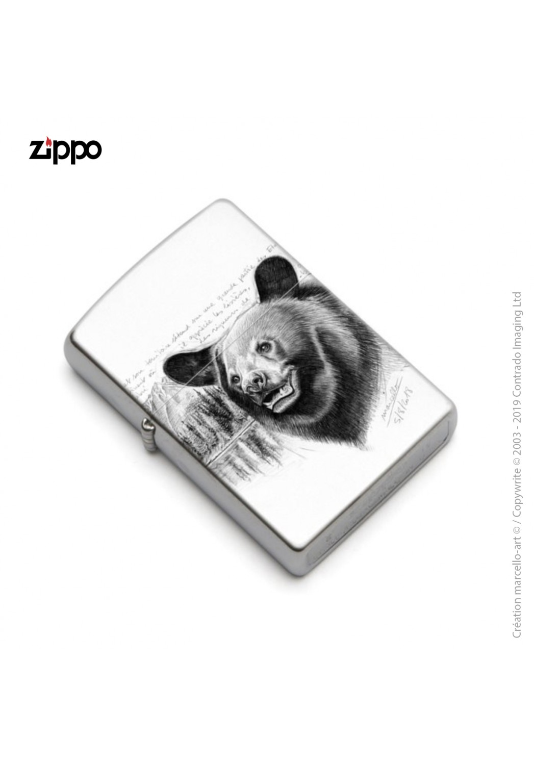 Marcello-art: Decoration accessoiries Zippo 382 black bear head