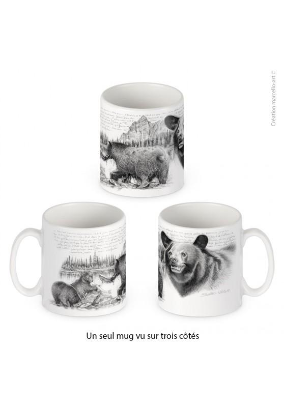 Marcello-art : Accessoires de décoration Mug porcelaine 382 ours noir