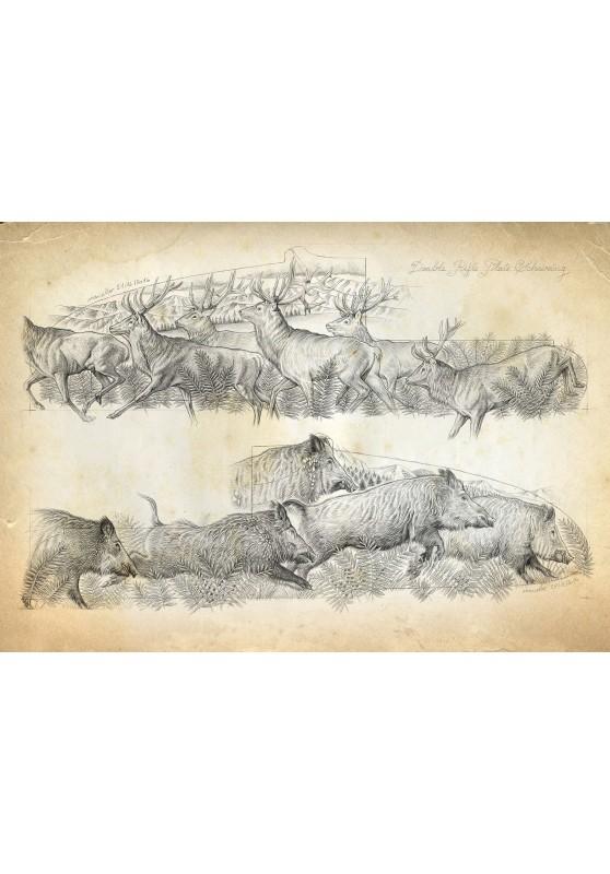 Marcello-art : Cartes de faire part 359 - Gravure harde cerfs sangliers