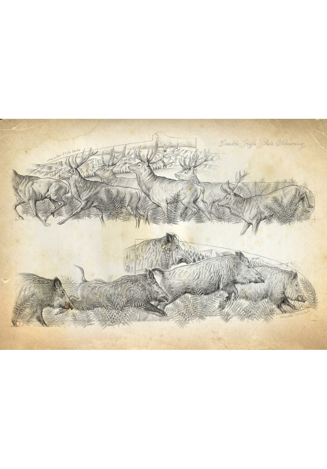 Marcello-art: Wish Card 359 - Engraving of wild boar herds