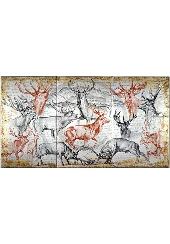 Marcello-art: Wish Card 295 - Triptyque Red Deer